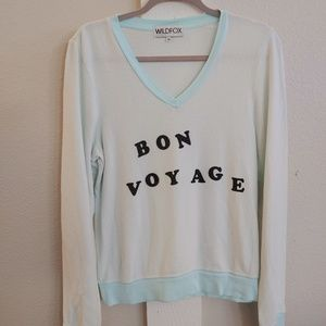 Wildfox V-Neck Sweater Bon Voyage Size XS